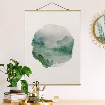 Foto su tessuto da parete con bastone - Acquarelli - giungla nella nebbia - Verticale 4:3