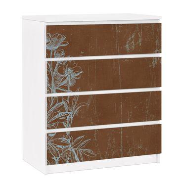 Carta adesiva per mobili IKEA - Malm Cassettiera 4xCassetti - Flowers Sketch
