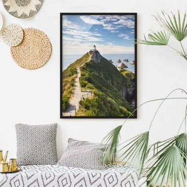 Poster con cornice - Nugget Point Lighthouse And Sea Zealand - Verticale 4:3