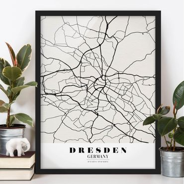 Poster con cornice - Dresden City Map - Classic - Verticale 4:3