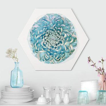Esagono in Alu-dibond - Acquarelli - blu Chrysanthemum