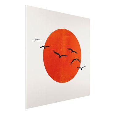 Stampa su alluminio - Stormo di uccelli davanti al sole rosso - Quadrato 1:1