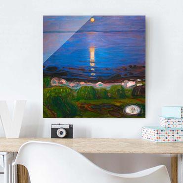 Quadro in vetro - Edvard Munch - Summer Night On The Sea Beach - Quadrato 1:1