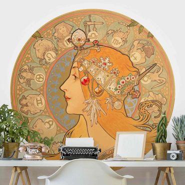 Carta da parati rotonda autoadesiva - Alfons Mucha - segni dello zodiaco