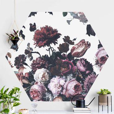 Carta da parati esagonale adesiva con disegni - Esplosione di fiori antichi con bouquet di rose