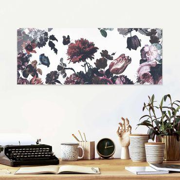 Quadro in vetro - Esplosione di fiori antichi con bouquet di rose