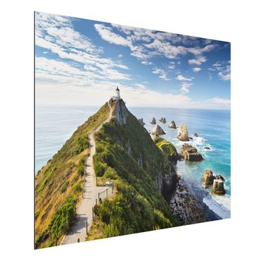 Quadro in alluminio - Nugget Point Lighthouse and sea New Zealand