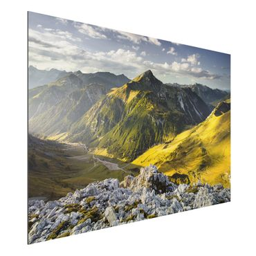 Quadro in alluminio - Mountains and valley of the Lechtal Alps in Tirol