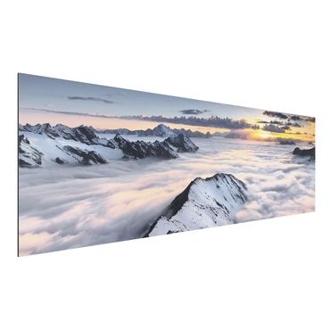 Quadro in alluminio - View of clouds and mountains