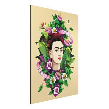 Quadro in alluminio - Frida Kahlo - Frida, Monkey And Parrot