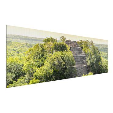Quadro in alluminio spazzolato - Pyramid of Calakmul