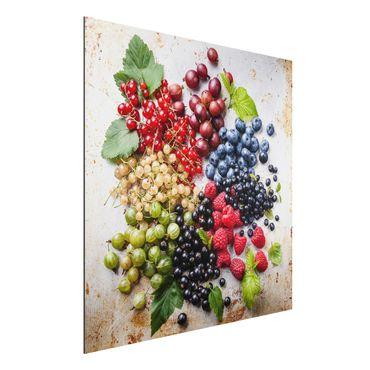 Quadro in alluminio - Mixture Of Berries On Metal