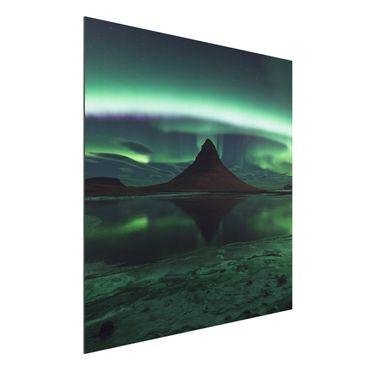 Quadro in alluminio - Aurora boreale in Islanda