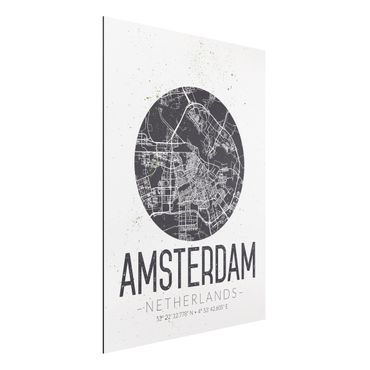 Quadro in alluminio - Amsterdam City Map - Retro