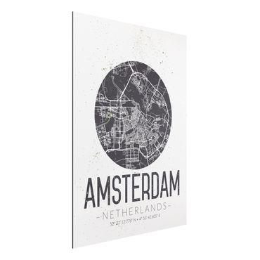 Quadro in alluminio - Amsterdam City Map - Retro