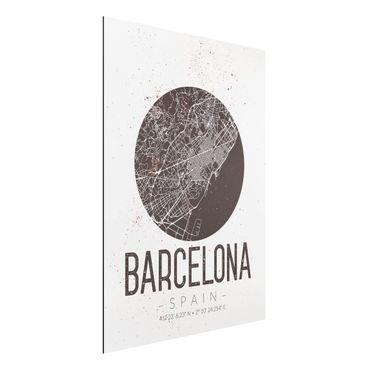Quadro in alluminio - Barcelona City Map - Retro