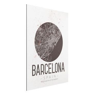 Quadro in alluminio - Barcelona City Map - Retro