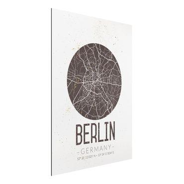 Quadro in alluminio - Berlin City Map - Retro