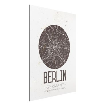 Quadro in alluminio - Berlin City Map - Retro