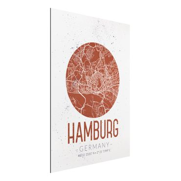 Quadro in alluminio - Hamburg City Map - Retro