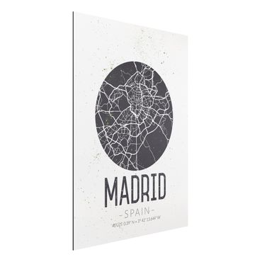 Quadro in alluminio - Madrid City Map - Retro
