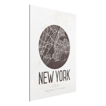 Quadro in alluminio - New York City Map - Retro