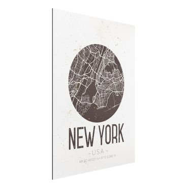 Quadro in alluminio - New York City Map - Retro