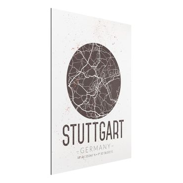 Quadro in alluminio - Stuttgart City Map - Retro