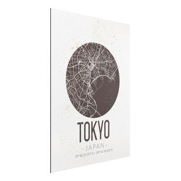 Quadro in alluminio - Tokyo City Map - Retro