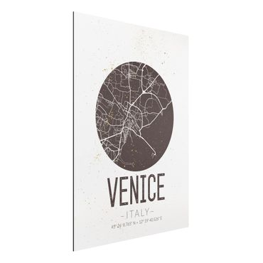 Quadro in alluminio - Venice City Map - Retro