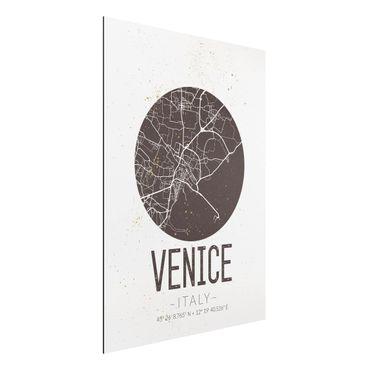 Quadro in alluminio - Venice City Map - Retro