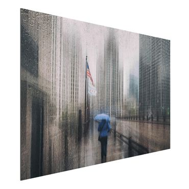 Quadro in alluminio - Rainy Chicago