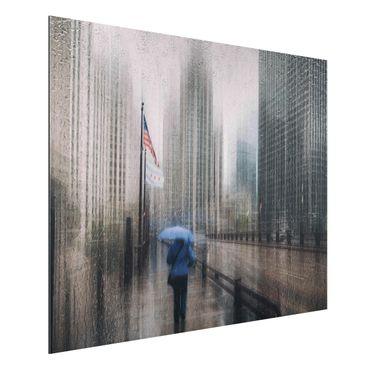 Quadro in alluminio - Rainy Chicago