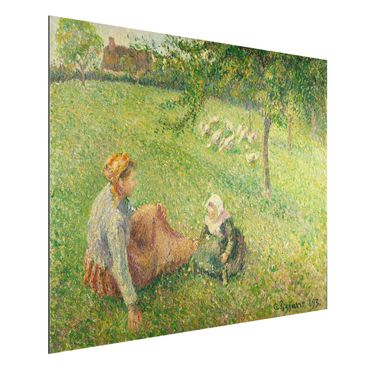 Quadro in alluminio - Camille Pissarro - La ragazza delle oche - Impressionismo