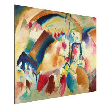 Quadro in alluminio - Wassily Kandinsky - Paesaggio con Chiesa - Espressionismo