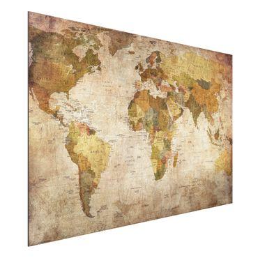 Quadro in alluminio - Map of the world