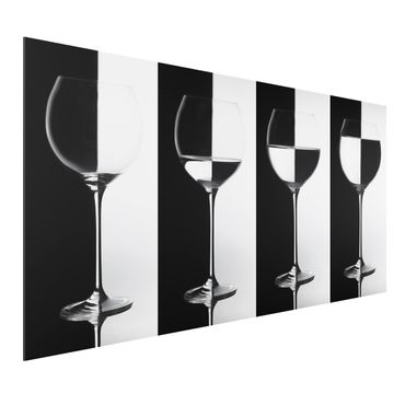 Quadro in alluminio - Wine Glasses Black & White