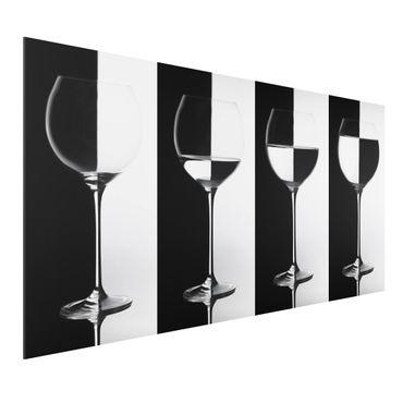 Quadro in alluminio - Wine Glasses Black & White