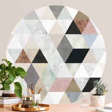 Carta da parati rotonda autoadesiva - Acquerello Mosaico con triangoli I