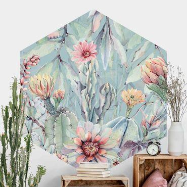 Carta da parati esagonale adesiva con disegni - Bouquet di cactus fioriti in acquerello