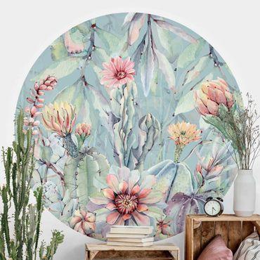 Carta da parati rotonda autoadesiva - Acquerello Blooming cactus Bouquet