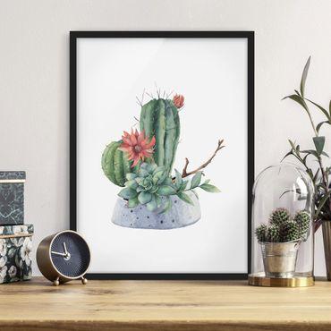 Poster con cornice - Illustrazione di cactus in acquerello
