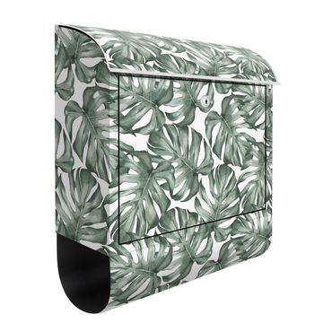 Cassetta postale - Acquerello foglie di monstera in acquerello verde