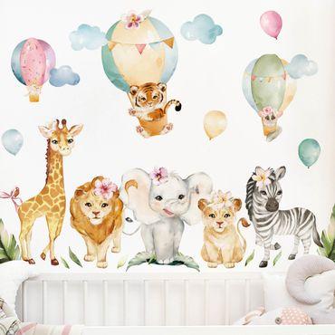 Tatuaggio murale multicolore - Set di animali per palloncini da safari ad acquerello