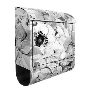 Cassetta postale - Pianta grassa con fiori in acquerello bianco e nero