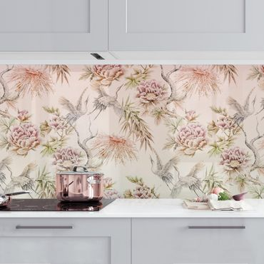 Rivestimento cucina - Acquerello di uccelli con grandi fiori in ombré