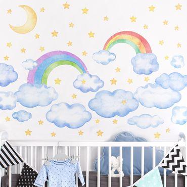 Tatuaggio murale multicolore - Nuvole acquerello Nuvole Arcobaleno Set Stelle Arcobaleno