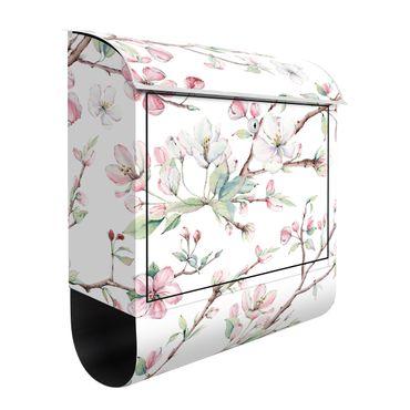 Cassetta postale - Rami di fiori di melo in acquerello rosa e bianco