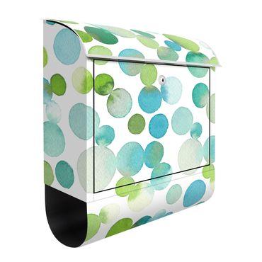 Cassetta postale - Puntini acquerello e coriandoli in verde blu