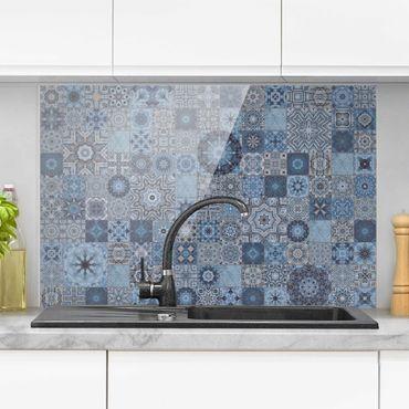 Paraschizzi in vetro - Art Déco piastrelle grigio-azzurro di marmo con luccichio dorato - Formato orizzontale 3:2